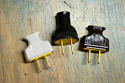 Vintage Style 2 Prong Electrical Plug Black Brown Or White Great W. Cloth Wire