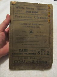 1934 Telephone Directory Evansville In And Suburban Exchange Great Vintage Ads