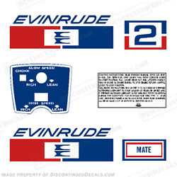 Evinrude 1971 2hp Outboard Decal Kit - Discontinued Decal Reproductions In Stock
