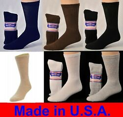 Diabetic Cushioned Crew Socks 3 6 or 12 Pair Men's  Women's Ladies Sizes 9-15