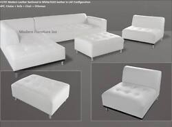 4 Pc Modern Contemporary Classic Design White Leather Sectional Sofa 1707