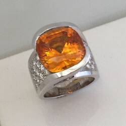 15.65 Carat Huge Cushion Natural Honey Orange Sapphire & Diamond Ring AGTA  GIA