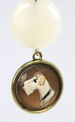 ADORABLE TERRIER DOG INTAGLIO UNDER GLASS 14K YELLOW GOLD DROPDANGLE EARRINGS