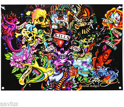 Ed Hardy Collage 7#x27; X 5#x27; Polyester Bedroom Dorm Room Tattoos Wall Banner Decor