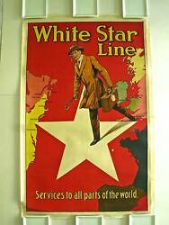 White Star Line London And North Western Railway Vintage Poster Circa 1920s 1930s
