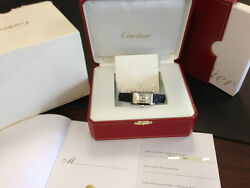 Cartier Ladies 18k White Gold Tank Americaine Box and Papers W2601956 Year 2009