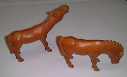 2 Wooden Chinese Horses Rare Hand Carved Antique Primitive Toys Early 1800's