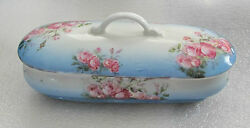1860's Russian Porcelain Box By Gardner Decorated With Roses Superb - Original
