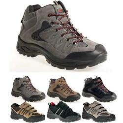 Mens Hiking Boots Walking Ankle Hi Tops Trail Black Trekking Trainers Shoes Size