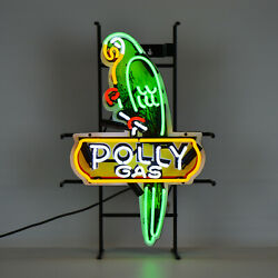 Neon Sign Polly Parrot Gas Wall Lamp Oil Gasoline Pump Globe Light Dads Garage