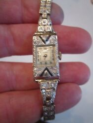 18k Gold And Diamond And Sapphire Linz Art Deco Watch - Circa 1920and039s - Works Great