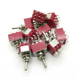 50×mini Toggle Switch 3pdt 3 Position On-off-on 9-pin 250v 2a 120v 5a Wholesale