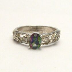 J And S Multi-colored Mystic Topaz Vine Sterling Silver Gemstone Solitaire Ring