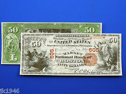 Reproduction 50 1875 National Bank Note Us Paper Money Currency Copy