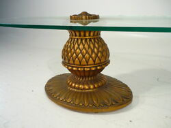 50's Mid 20th Century Hollywood Regency Gilded Pineapple Glass Table Mont Era