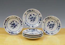 Antique Superb Set Of 6 Dutch Delft Dishes Floral And Flowers Circa 1750 Marked