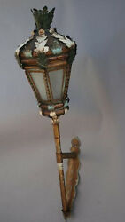 1920s Tall Italian Tole Hanging Wall Sconce Mediterranean Spanish Revival 4381