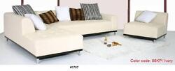 Modern Contemporary Design Ivory Leather Sectional Sofa 4 Pieces Set 1707