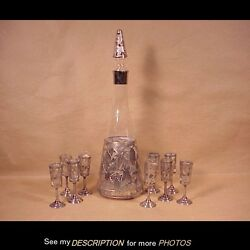 Antique Mexico Sterling Silver Overlay Glass 10 Pc Decanter Cordial Set Art