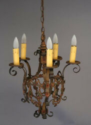 1920s Spanish Revival Mediterranean Chandelier With Polychrome Finish 3505