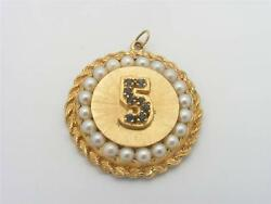 5 Design Pearl And Blue Sapphire Pendant . 14k Yellow Gold.