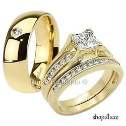 His Hers 3 Piece Menand039s Womenand039s 14k Gold Plated Wedding Engagement Ring Band Set