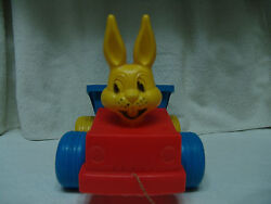Vintage Plastic Blow Mold Easter Bunny On Dump Truck Pull Toy On Wheels