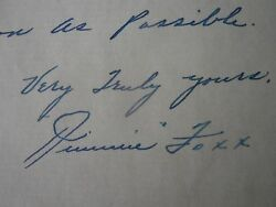 Rare 1930's Jimmie Foxx Handwritten And Signed Letter Psa And Jsa Authenticated