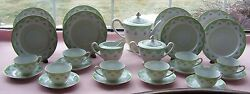 26 Pcs Aichi China Occupied Japan Luncheon Set Pink Roses Green Lace