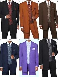 Men's 4 Button Fashion Suit With Woven Vestandtie Two Side Vents Style 6903v