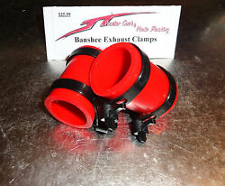 Yamaha Banshee Exhaust Pipe Clamps All Years Fmf,dg, Factory Red