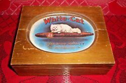 White-cat Standard Quality Wooden Cigar Box Vintage Handcrafted