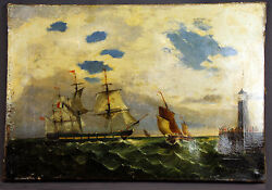 Antique 19th Century Seascape With Clipper Ships And Lighthouse.