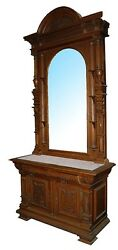Large Antique Carved Mirrored Hall Stand With Marble Top 1537
