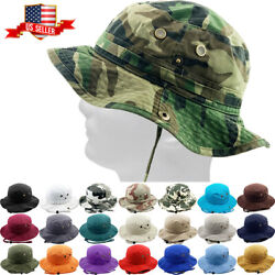 Bucket Hat Boonie Hunting Fishing Outdoor Cap Washed Cotton NEW $13.99