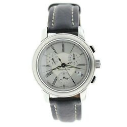 And Co Mark Atlas Chronograph Stainless Steel Leather Band Wrist Watch