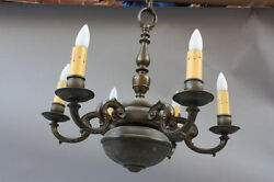 1920s Spanish Revival Colonia Brass Chandelier Fits In Tudor Homes6518