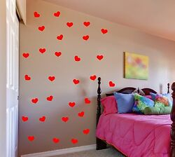 Heart Wall Decals removable sticker set art decor mural girls kids nursery room