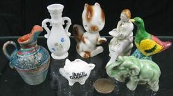Lot Of 7 Vintage 1950and039s Miniature Figurines Pig Bush Garden Reuter Germany And Jap