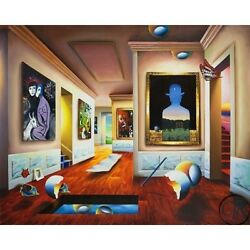 Ferjo Interior With Magritte S/n Giclee On Canvas
