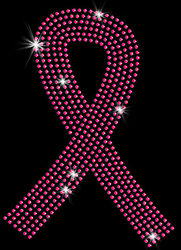 Pink Ribbon Rhinestud Breast Cancer Support T-Shirt PLUS SIZE - SUPERSIZE 16087