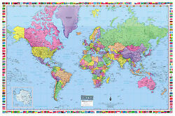 World Wall Map Poster 36quot;x24quot; with Flags Paper Laminated 2020