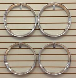 16 Chrome Stainless Steel Hot Rod Style Ribbed Beauty Rings Trim Ring Set Of 4