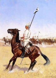 Cuirassiers By Frederic Remington, Hand Painted Painting Reproduction, 22 X 30