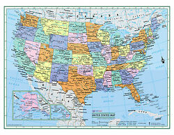 USA United States Wall Map Color Poster 22quot;x17quot; LARGE PRINT Rolled Paper 2020