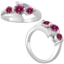 1.5 Carat Pink Si2 Rd Solitaire 3 Stone Ring 14k Wg Valentine Day Special Sale
