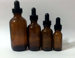 New Boston Round Amber Brown Glass Bottle With Dropper 1/2124 Oz Half Ounce
