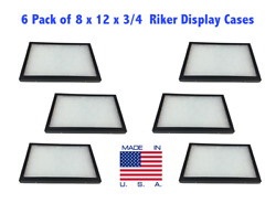6 Pack Of 8 X 12 X 3/4 Riker Display Cases Boxes For Collectibles Jewelry And More