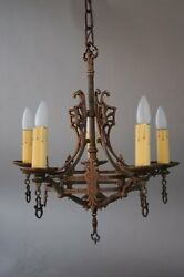 1920and039s Chandelier With Crest Motif Fits In Spanish Revival Tudor Home 7256