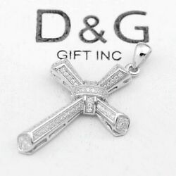 DG Men#x27;s 925 Sterling Silver 44mm CROSS Brilliant CZ Pendant Unisex Box $25.99